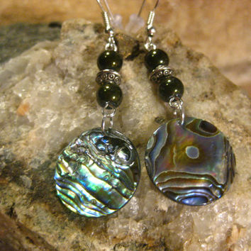 New Zealand Paua Shell Abalone and Dark Green Glass Pearl Earrings, Shell Earrings, Gifts for her from The Hidden Meadow