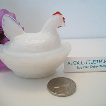 vintage miniature milk glass hen on the nest dish, white chicken dish