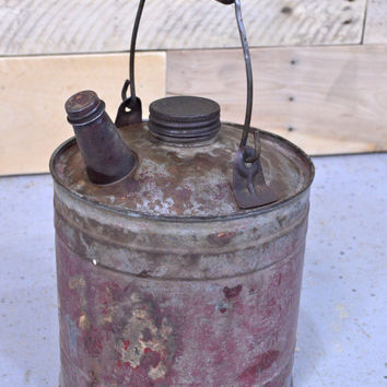 Vintage Red Metal Gas Can, Little Old Red Gas Can