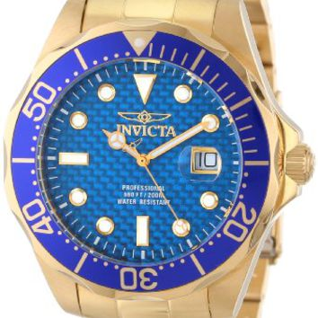 Invicta Pro Diver Blue Cabon Dial Gold Ion-plated Mens Watch 14357