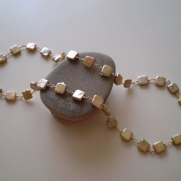 Tan Square Coin Pearl Necklace, Bridal, Pearl Necklace, OOAK