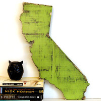 California State (Pictured in Avocado) Pine Wood Sign Wall Decor Rustic Americana French Country Chic