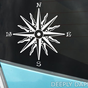 WAVY COMPASS ROSE Tattoo Decal - Vinyl Sticker for Auto or Home Decor Based On Vintage Tattoos
