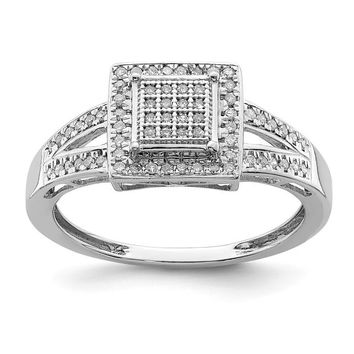 Sterling Silver Pave Diamond Square Halo Split Shank Ring