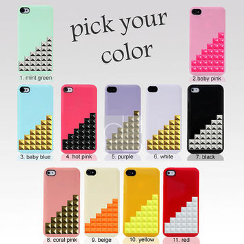 1 PC X Apple iPhone 5 S 5S 5G 5GS G 5th Gen Case -Corners Pyramid Studs Spikes Bling Hard Back Plastic Back Hard Skin Cover (SD.A)