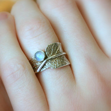 Sage and Moonstone...Sage Leaf Ring with Rainbow Moonstone...Engagement Ring Wedding Band Promise Ring