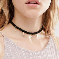 Womens Leather and Stras Necklace Choker +Gift Box