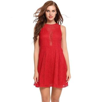Maya Mini Lace Dress - Red