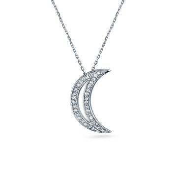 Celestial Crescent Moon Pendant Charm Pave Necklace Sterling Silver
