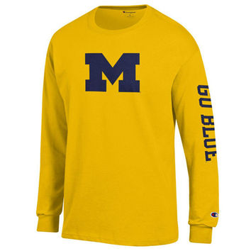 Champion University of Michigan Yellow Long Sleeve Block 'M' Tee