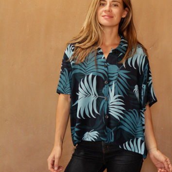 HAWAIIAN button up contrast floral slouchy 90s short sleeve