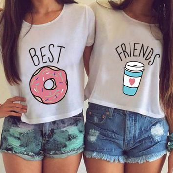 Letter Funny Harajuku Crop Top Women 2018 Summer T Shirts Best Friends T Shirt Women Donut Coffee Duo Print Cotton cropped Tops