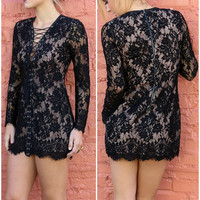Standing Ovation Black Lace Dress With Lace-Up Front & Tassels