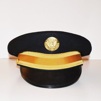 Vintage Military Officers Hat Army Officers Dress Blue Hat WWII 1940s Luxenberg Hat Captains Style Hat Nicki Minaj Style Hat
