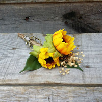 "Rustic Sunflower, Baby""s Breath, and Deer Antler Wedding Boutonniere, Grooms Boutonniere, Woodland Wedding Accessories, Rustic Boutonniere"