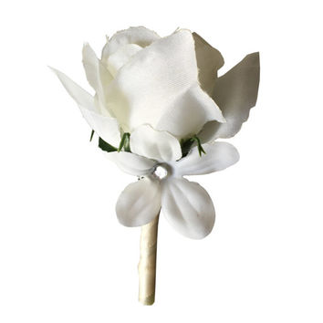 Boutonniere-Ivory spray rose accents with stephanotis