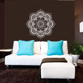Wall Decal Vinyl Sticker Decals Art Home Decor Mural Mandala Ornament Indian Geometric Moroccan Pattern Yoga Namaste Lotus Flower Om AN171