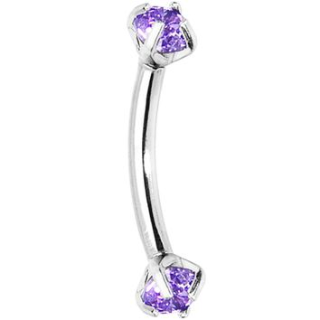 Tanzanite Purple Prong Set Gem Internally Threaded Eyebrow Ring