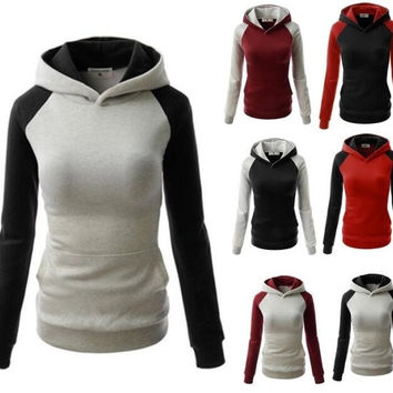 6 Colors Women Hoodies Fashion Hit Color Hooded Sweatshirt Lady Pockets Stitching Pullovers Autumn and Winter Long-sleeve Hoody Tops Plus Size S-XXL = 5709318465