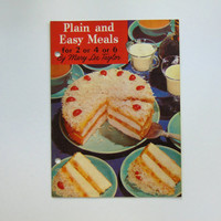 Vintage 1950s Pet Milk Cookbook, Mary Lee Taylor Recipe Book, Plain and Easy Meals For 2 or 4 or 6