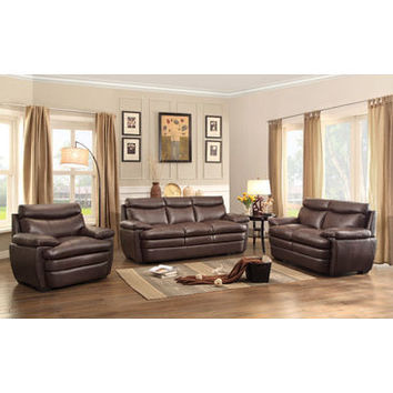 Homelegance Rozel Three Piece Sofa Set In Dark Brown Genuine Top Grain Leather Match