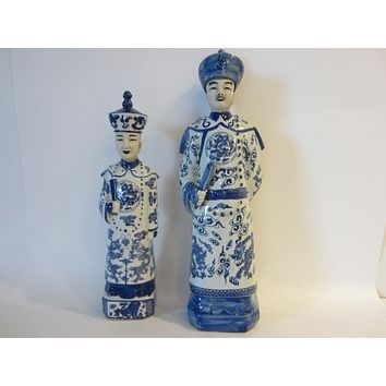 Asian Ceramic People Blue White Figures Sculptures Tall Characters With Signatures