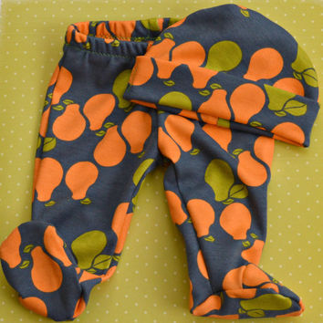 Organic pear footed baby pants with matching hat - orange, free, grey - New Baby Gift Set - Coming Home - Baby Boy - Gender Neutral