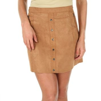 Double Zero Juniors Faux Leather Button Down Skirt at Von Maur