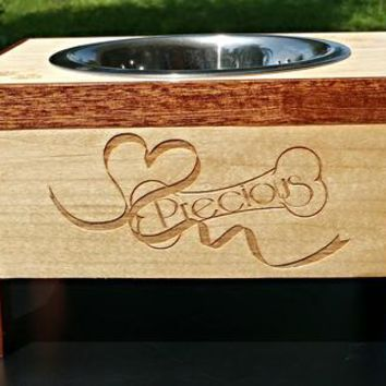 Personalized Elevated Pet Bowl Stand Made On Hatch.co by Ehandcarved
