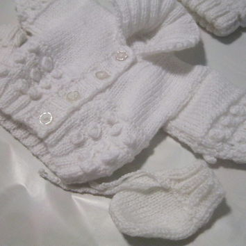 WHITE Hand Knitted Cardigan for NEWBORN OR DOLL baby present girls boys
