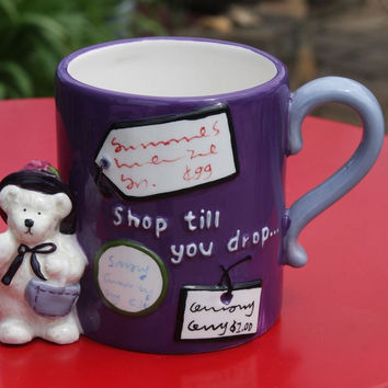 Shop Till You Drop Purple Boyds Bears Shopping Lovers Gift Coffee Tea Mug CUTE