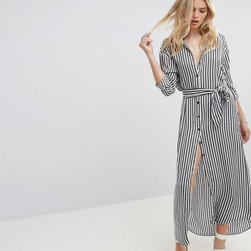None The Richer Jagger Silk Blend Maxi Shirt Dress at asos.com