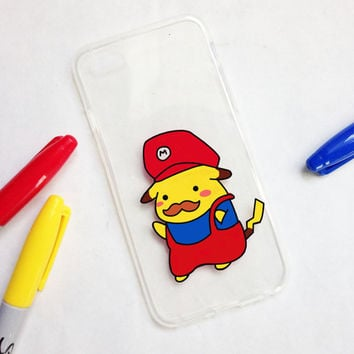 Hand painted Mario phone case, iPhone 6 case, iPhone 6s case, Pikachu phone case, Samsung Galaxy S8 Case, Samsung Galaxy S7 Edge Case