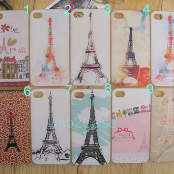 Graffiti Paris Eiffel Tower Water-Color Cover for Apple i iphone 4 4g 4s 5 5s 5c Samsung galaxy S3 S4 S5 note 2 note 3 Plastic Phone Cases