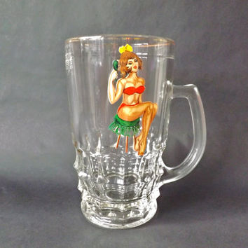 1950s Risque Pin Up Pint Beer Tankard, English Ale Mug, Vintage Home Bar, Fun Beer Glass, Peek a Boo Male Gift, Retro Pin Up Girl, Man Cave