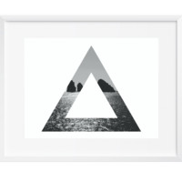 Triangle Vast Ocean Wall Art, Art Print, Black and White, Contemporary, 12x16