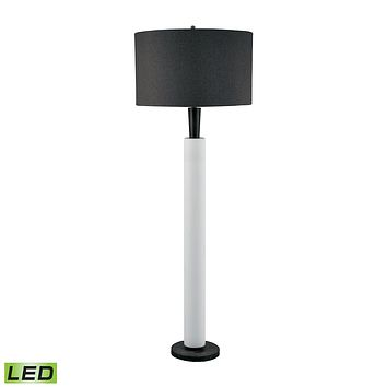 Modern Wood And White Bisque Ceramic LED Floor Lamp