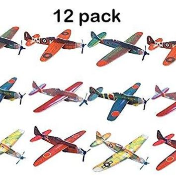Flying Glider Planes - Toy For Party Kids & All Ages - Hand Launch - Easy Assembly - Styrofoam Assorted 8 Inch (SET OF 12) - By Kidsco