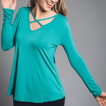 Merry and Bright Piko Top in Green