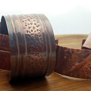 Rustic Copper Cuff Bracelet, Hand-Hammered Metal, Fold Formed Bracelet, Made to Order, Choose Width