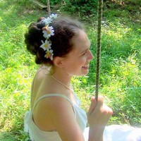 White Daisy Chain Wedding Wreath headband | Puppycatmeow - Wedding on ArtFire