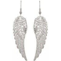 "Amazon.com: Nickel Free 1 7/8"" Angel Wings Earrings In Silver Tone: Cora Hysinger: Clothing"