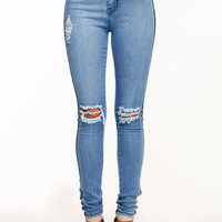HIGH WAISTED STRIPE JEGGINGS