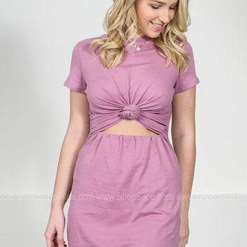 Purple Knot Shirt Dress