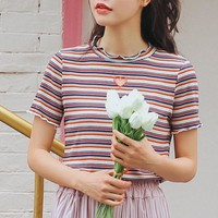 STRIPED HEART CUT OUT TEE