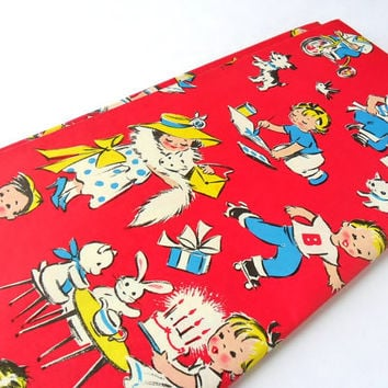 Vintage Kids Gift Wrap 1 Sheet 1960s Retro Little Boy and Little Girl Birthday Christmas Wrapping Paper for Children