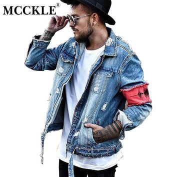 MCCKLE Hi-Street Men Ripped Ribbon jeans Jackets washed patchwork Distressed Denim Man Slim Fit Streetwear HipHop Vintage Jacket