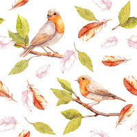 Feathers and Watercolors Removable Wallpaper Decal