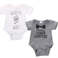New Baby Boys Girls Quote Romper Bodysuit Outfits Clothing
