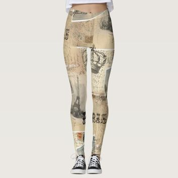 French Postcard Collage Leggings
